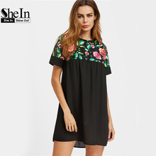 SHEIN Yoke Sheer Back Smock Dress Black Sexy Women Floral Embroidery Summer Dresses 2017 Cut Out Elegant Boho A Line Dress