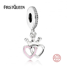 FirstQueen New Arrival 100% Real 925 Sterling Silver Pendants Crowned Hearts Pendant Charm Fit Original FirstQueen Bracelet Auth