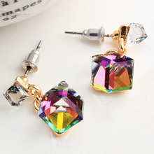 Fashion Crystal Stud Earrings Women Clear Green/Gray/Multicolor Color CZ Cube Stone Jewelry Gift Wholesales Price