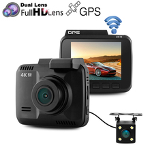 "GS63D Novatek 96660 Dual Lens WiFi Car DVR 4K/Full HD1080P + VGA Rear Camera Built-in GPS 2.4""LCD Night Vision G-Sensor Dash Cam(China)"