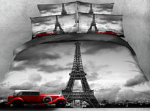 JF106 Vintage style Grey Eiffel Tower and red car print 5pcs Comforter set queen king size bedding sets with quilt filler