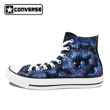 Sneakers Men Women Shoes Blue Galaxy Converse All Star All Over The Sky Star Design Hand Painted Canvas Shoes Unique Gifts