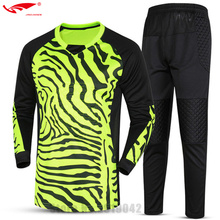 customized Boys Kids Youth Soccer Training jersey set long sleeve Goalkeeper Jerseys Survetement football Goal keeper Uniforms(China)