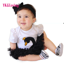Hot Swan Romper tutu dress Pink Black White Red Short Sleeve Girls Jumpsuit Lace for  2017 New Arrival Spring Summer Style
