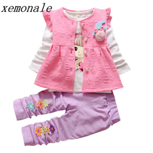 Fashion Autumn Children Girls Garment Baby Flower Vest T-shirt Pants 3Pcs Suits Kids Brand Clothes Sets Toddler Tracksuits