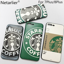 Netarlier Fashion Cartoon Starbuck Coffee Queen Phone Case For Iphone 7 Plus/8Plus 5.5inch Silicon Soft Car Bracket Case Cover(China)