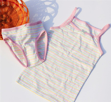 2sets/Lot Germany brand Topolino 100% organic cotton striped underwear ( vest + pantie ) baby clothes children sling vest suits(China)
