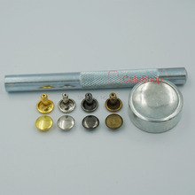 "100 Pcs / Lot With 1 Set tools 6mm 5/16"" Double Round Cap Rivet Stud Leather with Tool For Leathercraft Fabric Bags"