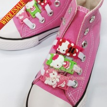 Random 100Pcs Lovely Hello Kitty Cartoon Shoelace Shoe Accssories Sport Sneaker Boots Shoe Laces Silicone Shoelaces,Kids Gift