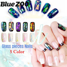 5 Colors DIY Beauty Glass Cullet Nail Sticker Aurora Symphony Design Irregular Specular Aluminum Foil Paper Manicures Decoration(China)