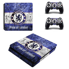 Chelsea Football Team PS4 Slim Skin Sticker Decal For Sony PS4 PlayStation 4 Slim Console and 2 Controllers Stickers