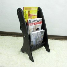 black wooden struction leather floor magazine newspaper exhibition display rack shelf organizer holder black 252A