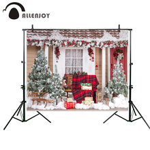 Allenjoy photography backdrop Snow Christmas wooden house red armchair gift new background photocall customize photo printed(China)