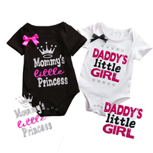 0-18M 2017 Daddy Mommy Little girl princess letter Cotton Newborn Infant Baby Girls Body suit Romper Jumpsuit Clothes Outfits