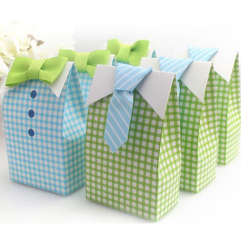20pcs/lot My Little Man Bow Tie Birthday Boy Baby Shower Favor Candy Treat  Box