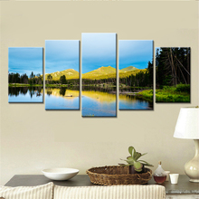 5 Pieces HD Print Painting Grasslands And Lakes Mountains Landscape For Decorative Bedroom Living Room Home Wall Art Decor(China)