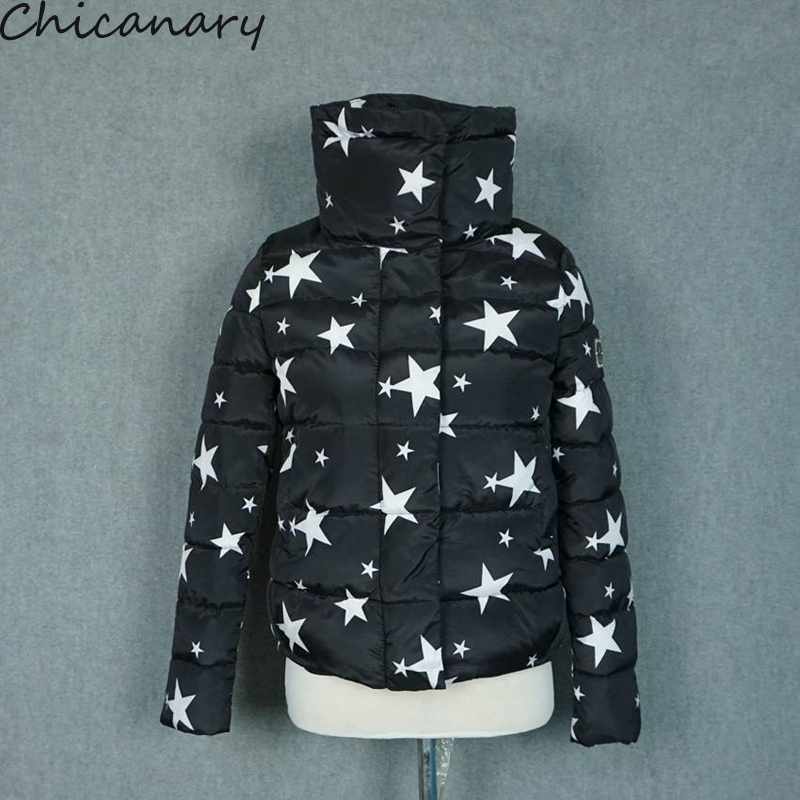 2016 New Women Coat Fashion Autumn Winter Female Jacket Women Parkas Casual Star Print Short Jackets Inverno Parka WaddedÎäåæäà è àêñåññóàðû<br><br>