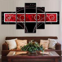 5 Pieces / Set wall art canvas picture painting Canvas paint wall pictures for living room Circles Red Black Abstract AB5004