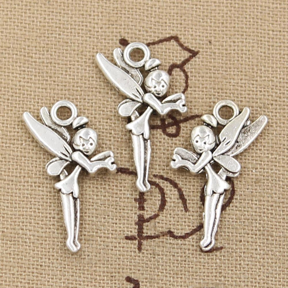 20 x Tibetan Silver Fairy with Heart Pendant Charms