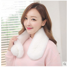 Winter Scarf Women Necklace Rex Rabbit Fur Scarfs Luxury Brand Shawl 2017 Full Pelt Genuine Fur Collar 60x10cm