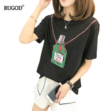 RUGOD New Arrival Fashion Women's T-Shirts Perfume Printing O-Neck Famale Tees Short Sleeves Slim Casual Cotton Lady Top Blouses