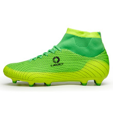 2017 New Men Football Soccer Boots With Ankle Turf Soccer Shoe Leather Big Size High Top Soccer Cleats Training Football Sneaker