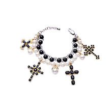 2016 New Silver Beadwork Purely Pearly Traditional Cross Bracelets & Bangles for Women Black & White Tone Faux Pearl Bracelet