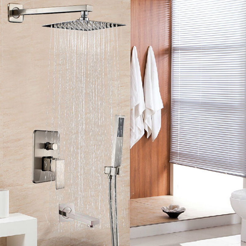 Brushed Nickel 8 Stainless Steel Rainfall Shower Faucet Single Handle Bathtub Shower Mixer Tap + Hand Shower<br><br>Aliexpress