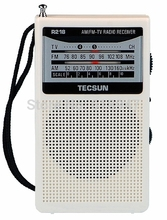 TECSUN R-218 AM/FM/TV Pocket Radio R218 Radio Receiver Built-In Speaker Free Shipping(China)