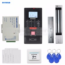 DIYSECUR Full Fingerprint ID Card Reader Password Keypad Door Access Control System + Power Supply + 280kg Magnetic Lock Kit(China)