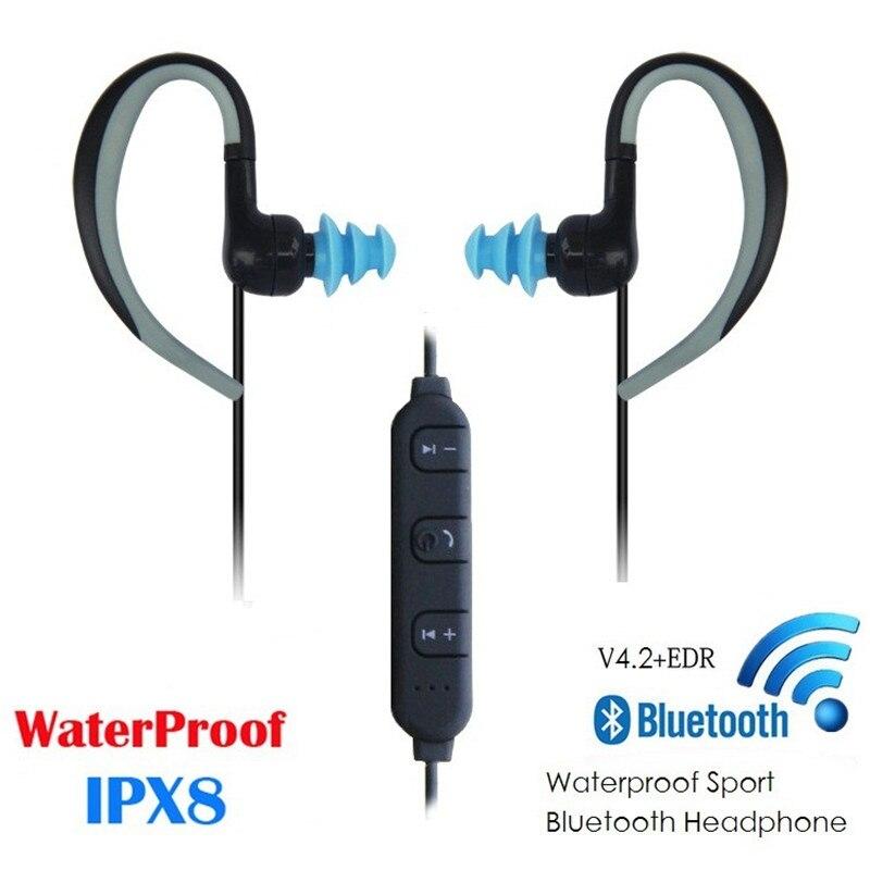 ipx8 waterproof Swimming bluetooth earphone wireless BT headset with mic sport neckband Cable control ear Hook Swim Earphones