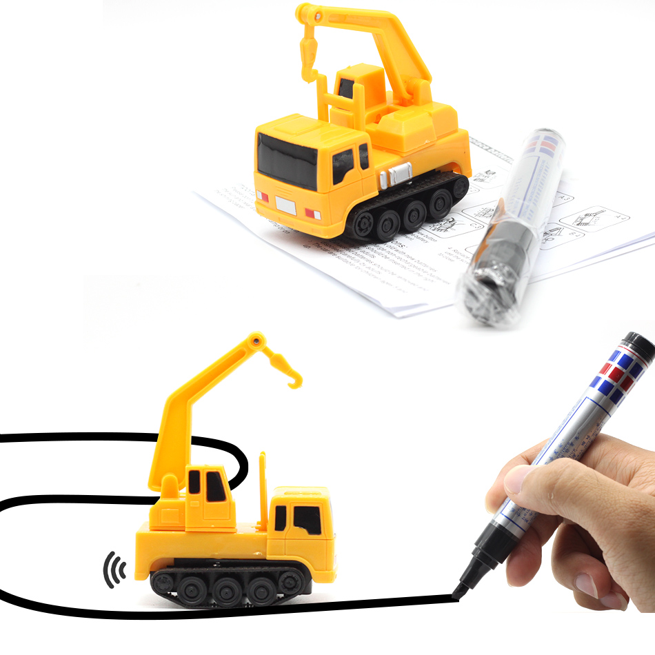 New Free Delivery Magic Pen Inductive Car Truck Follow Any Drawn Black Line Track Mini Toy Engineering Vehicles Educational Toy 4