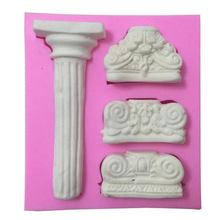 Marble Pillar Silicone Cake Mold 3D Silicone Mold Fondant Cake Chocolate Soap Mould Cake Decorating Baking Tool(China)
