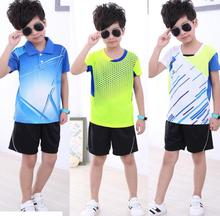 Free shipping Children badminton sportwear shirts Shorts,polyester Quick-drying Absorb breather men table tennis Jersey suit(China)