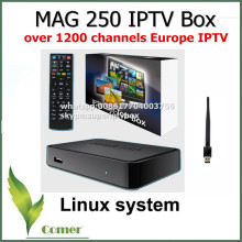 Best Linux mag250 IPTV box , Set Top Box with WIFI USB connector, Cable can support IPTV Europe account,mag 250 support update