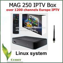 Best Linux mag250 IPTV box , Set Top Box with WIFI USB connector, Cable can support IPTV Europe account,mag 250 support update(China)