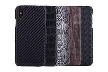 Case For Iphone X 8 7 Plus 6 6S SE 5 5S Snake Wood Leather Hard Plastic PU Croco Carbon Fiber Crocodile Vertical PC Cover 200PCS(China)
