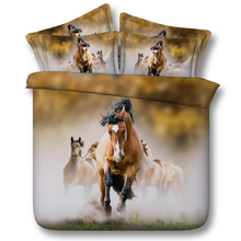 Royal Linen Source Bay Stallion leading his Mares 3d Hd Animal bedding set