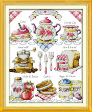 Dlicious Tea cake 11CT Printed Fabric 14CT Canvas DMC Counted Chinese Cross Stitch Kits Cross-stitch set Embroidery Needlework(China)