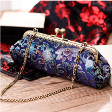 Chic Oblong Bag Women Real Silk Embossing Brocade Retro Clutch Bag Ladies Cosmetics Cash Bag Elegant Classy Chain Shoulder Bag