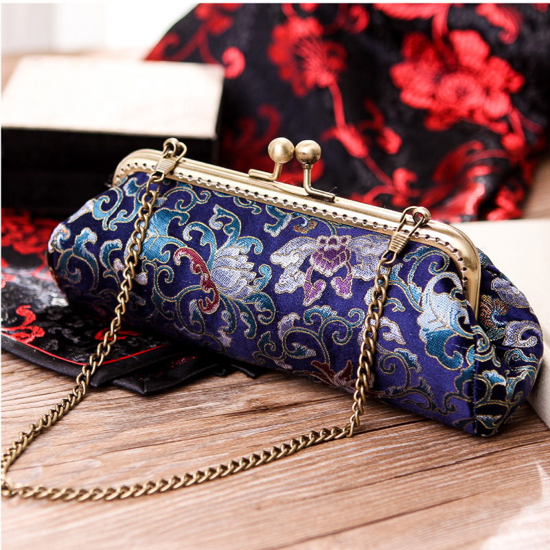 Chic Oblong Bag Women Real Silk Embossing Brocade Retro Clutch Bag Ladies Cosmetics Cash Bag Elegant Classy Chain Shoulder Bag<br><br>Aliexpress