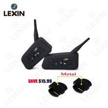With Metal Clip! Lexin 6 Riders R6-1200M BT Interfone Motorcycle Helmet Bluetooth Intercom Walkie Talkie Headset Moto(China)