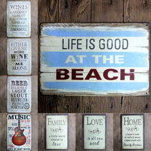 2017 New arrival LOVE Guitar Tin Plate Signs Movie Poster Art Cafe Bar Vintage Metal Painting Wall Stickers Home Decor 20X30 CM