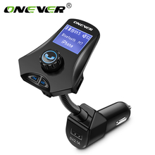 Onever Bluetooth FM Transmitter Hands Free Car Kit Car Mp3 Player FM Modulator 2.1A Three USB Car Charger Support Flash Drive TF(China)
