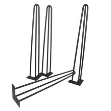"28"" hairpin legs -Black color- 3 rods Straight Design- Furniture legs-set of 4"
