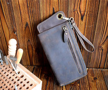 ALAVCHNV hand retro to do the old multi-card men's long wallet leather large capacity zipper phone bag M010(China)