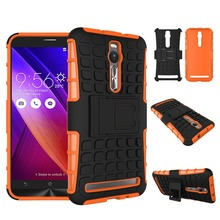 "Orange phone case for Asus Zenfone 2 ZE551ML ZE550ML 5.5"" 2 in 1 Armor hybrid PC + TPU with Kickstand cover for Asus Zenfone 2(China)"