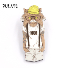 PULATU Handsome Cat Brooches Printed Cartoon Acrylic Brooch Pins Boys and Girls Bag Sweater Coat Jewelry Accessories XZ0894(China)