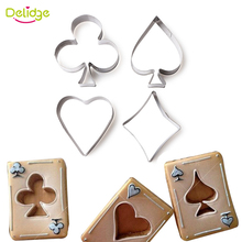 Delidge 4 pcs/set Poker Cookie Mold Stainless Steel Playing Cards Cake Fondant Mold Spade Heart Club Diamond Biscuit Cutter(China)