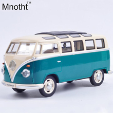 New Minibus 1:24 Alloy Diecast Model Car Toy Bus MiniVan As Gift Collection For Boy Children Blue and Red Vehicle Toys